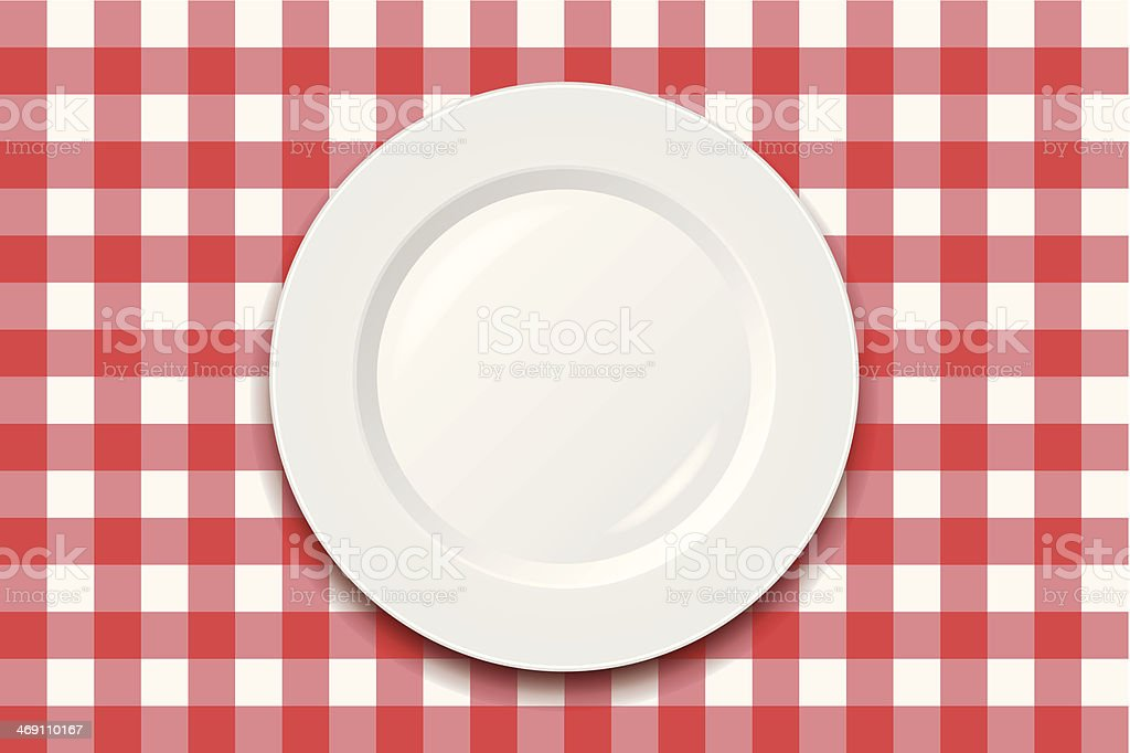 White empty dish on a red and white checkered cloth vector art illustration