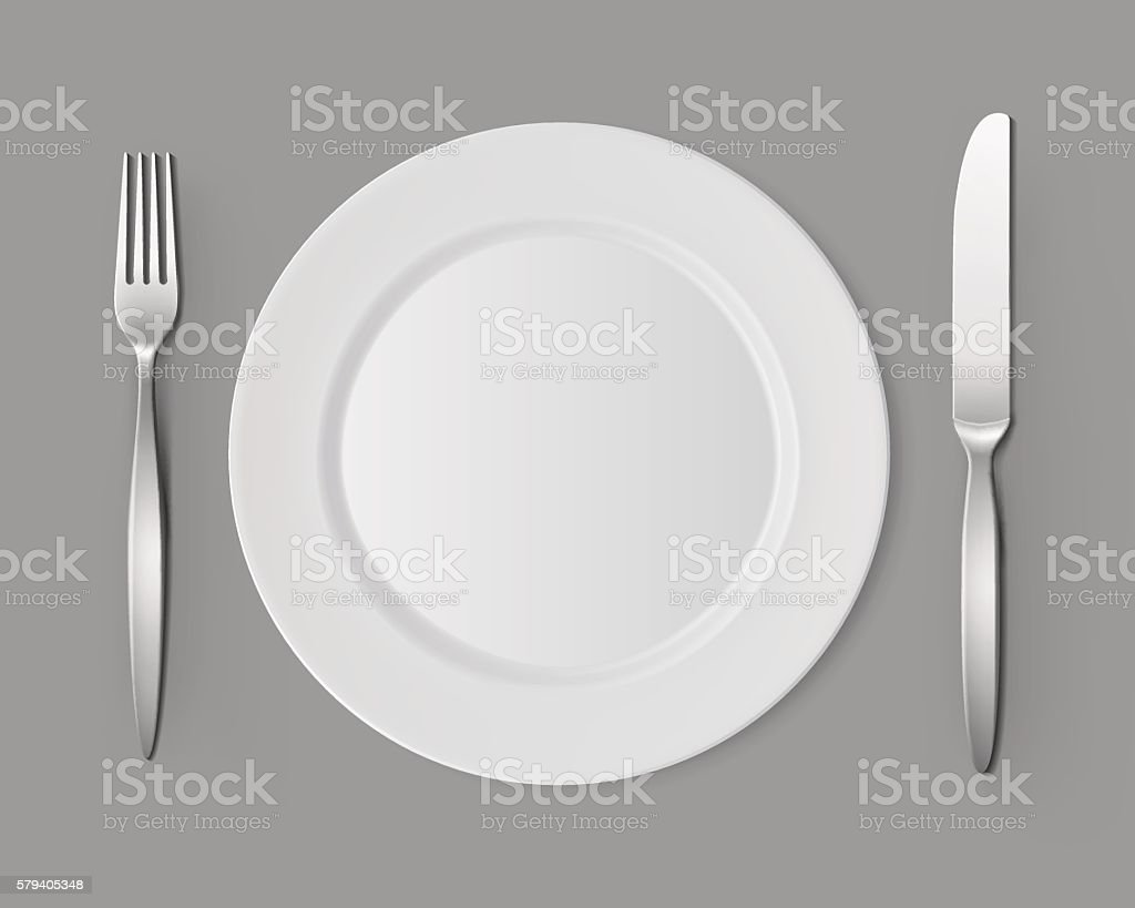 White Empty Flat Round Plate with Fork Knife Table Setting vector art illustration