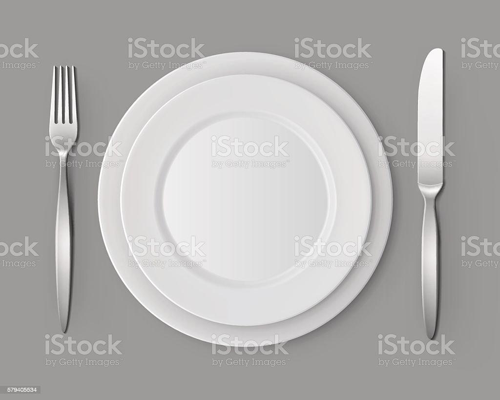 White Empty Flat Round Plates Fork and Knife Table Setting vector art illustration