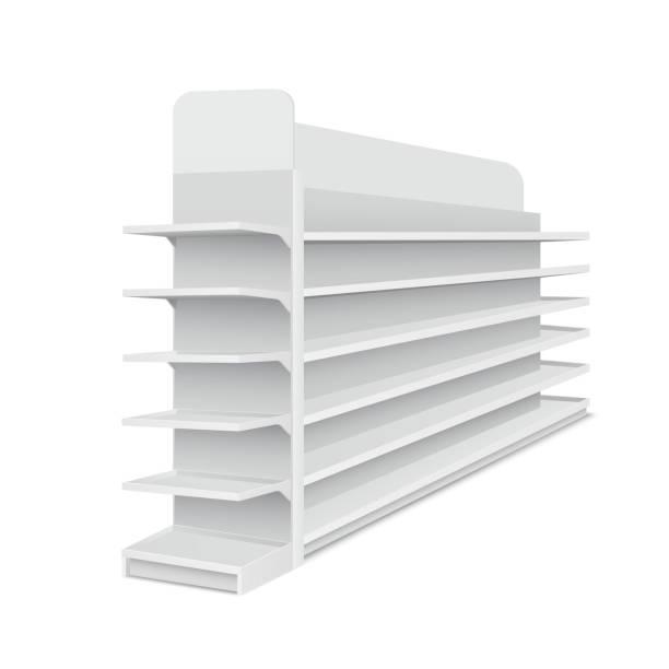 흰색 바탕에 제품에 대 한 선반과 화이트 빈 긴 쇼케이스. 슈퍼마켓, 쇼핑 센터에 대 한 선반입니다. 벡터 일러스트 레이 션 - 0명 stock illustrations