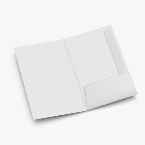 white empty open folder template vector art illustration