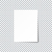 White empty paper sheet with shadow on transparent background. Vector EPS10