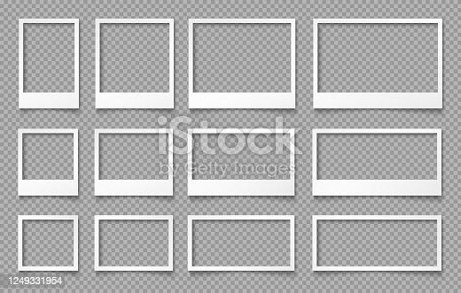 istock White empty photo frames. Templates for photo design. 1249331954