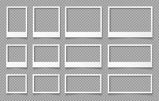 White empty photo frames. Templates for photo design.