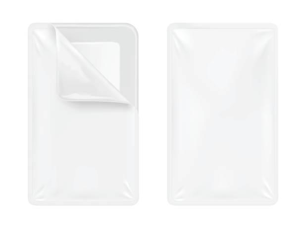 weiße leere kunststoffbehälter für lebensmittel. verpackung für fleisch, fisch und gemüse - vakuumverpackung stock-grafiken, -clipart, -cartoons und -symbole