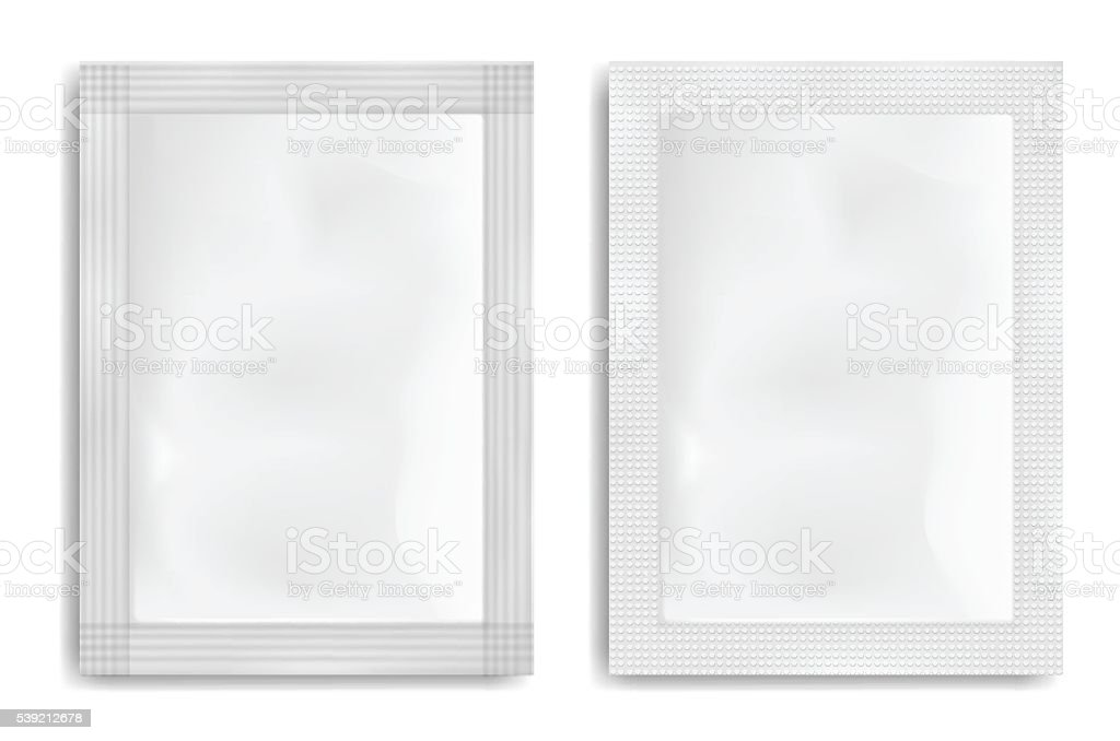 White empty plastic packaging. Blank foil or plastic sachet. vector art illustration
