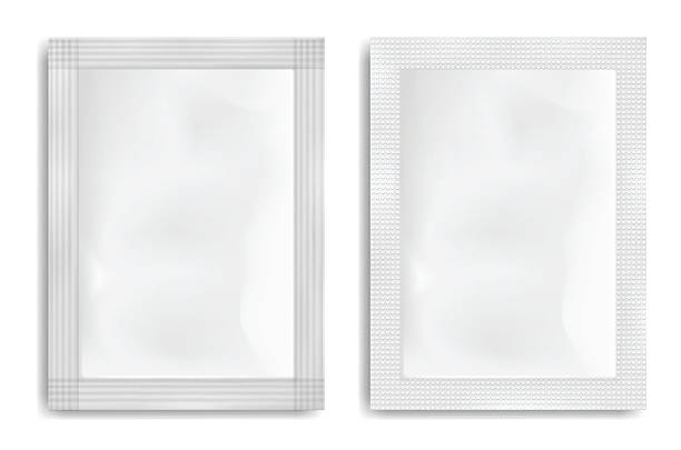 bildbanksillustrationer, clip art samt tecknat material och ikoner med white empty plastic packaging. blank foil or plastic sachet. - paket
