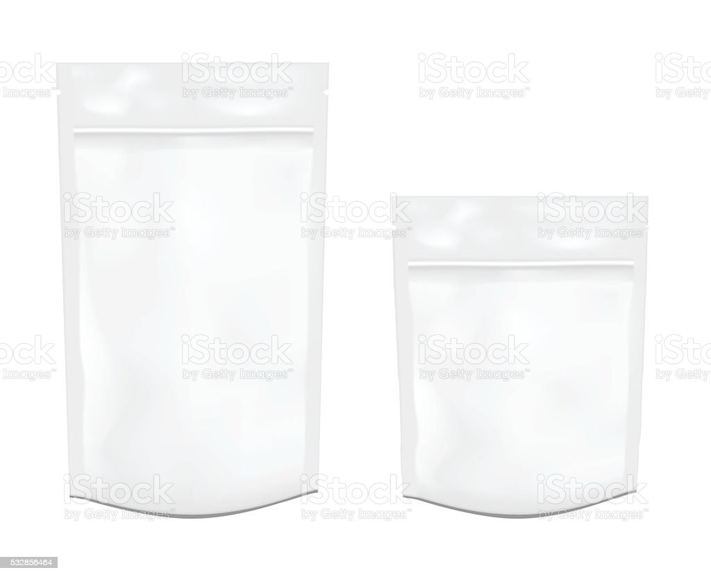 White empty plastic packaging with zipper. Foil or plastic sache. vector art illustration