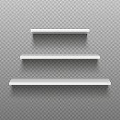 White empty shelves. Blank bookshelves. Simplicity store interior, supermarket showcase. Isolated vector illustration