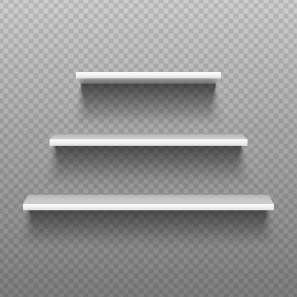 white empty shelves. blank bookshelves. simplicity store interior, supermarket showcase. isolated vector illustration - карниз stock illustrations