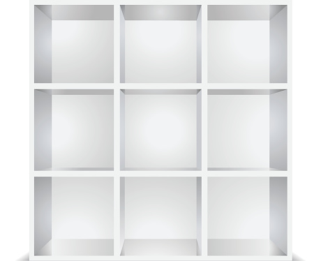 white empty shelves isolated