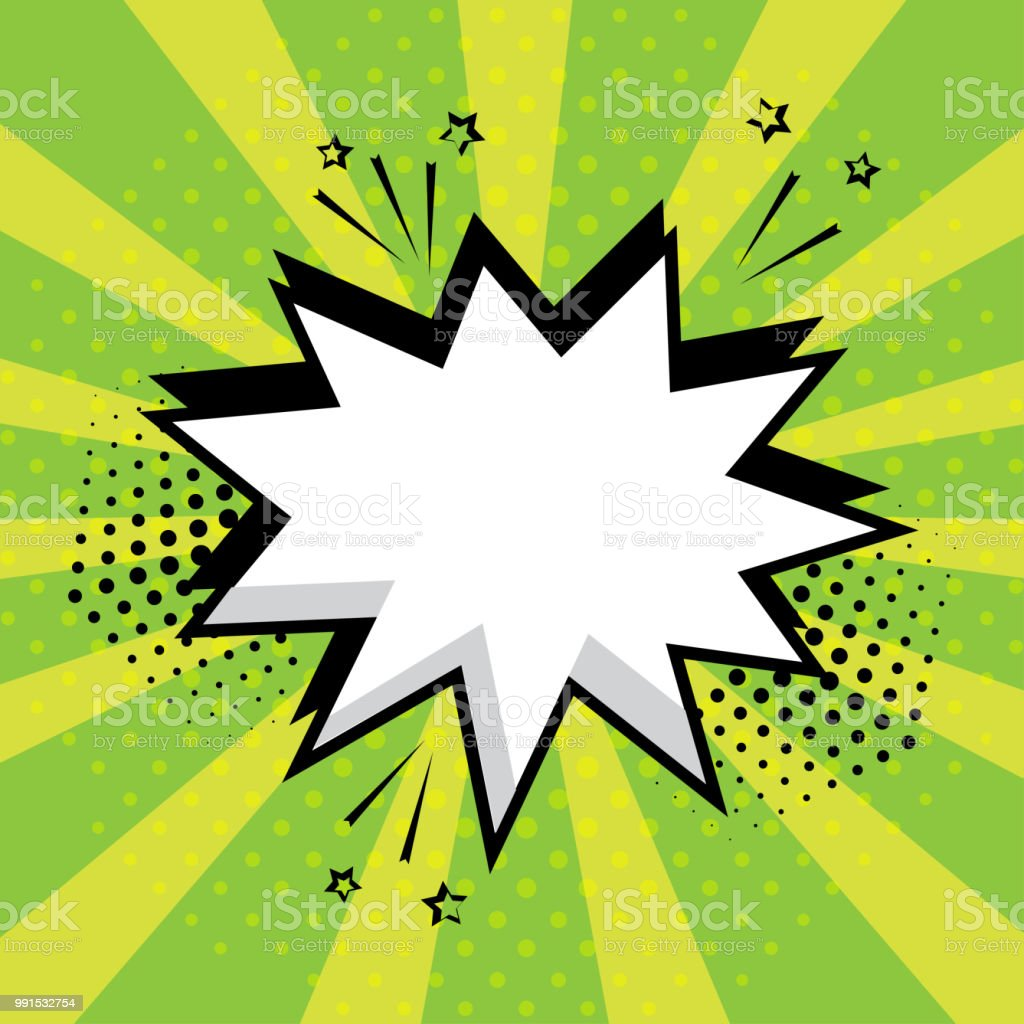 White empty speech comic bubble with stars and dots on green background. Comic sound effects in pop art style. Vector illustration. vector art illustration