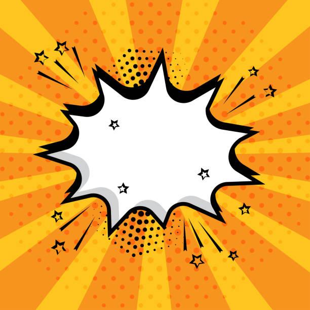 illustrations, cliparts, dessins animés et icônes de blanc vide bd bulle avec étoiles et points sur fond orange. bruitages bande dessinées dans le style pop art. illustration vectorielle. - effets sonores