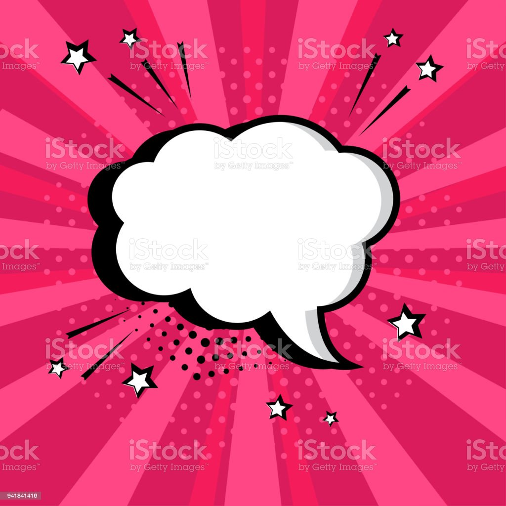 White empty speech comic bubble with stars and dots on pink background. Comic sound effects in pop art style. Vector illustration. vector art illustration