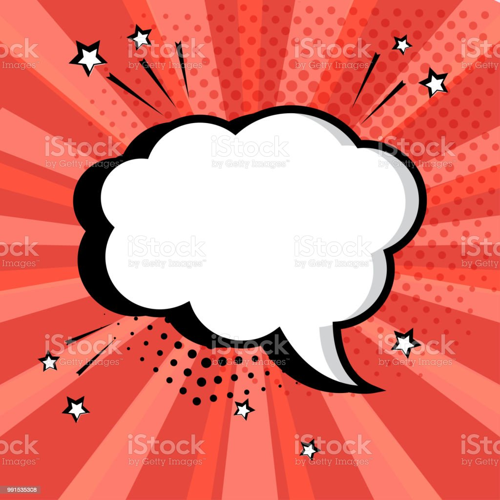 White empty speech comic bubble with stars and dots on red background. Comic sound effects in pop art style. Vector illustration. vector art illustration