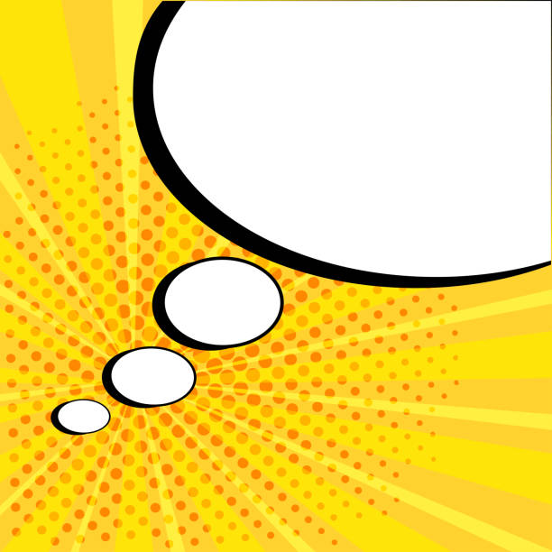 white empty speech comic bubble with stars and dots on yellow background. vector illustration in pop art style - sound effects stock illustrations, clip art, cartoons, & icons