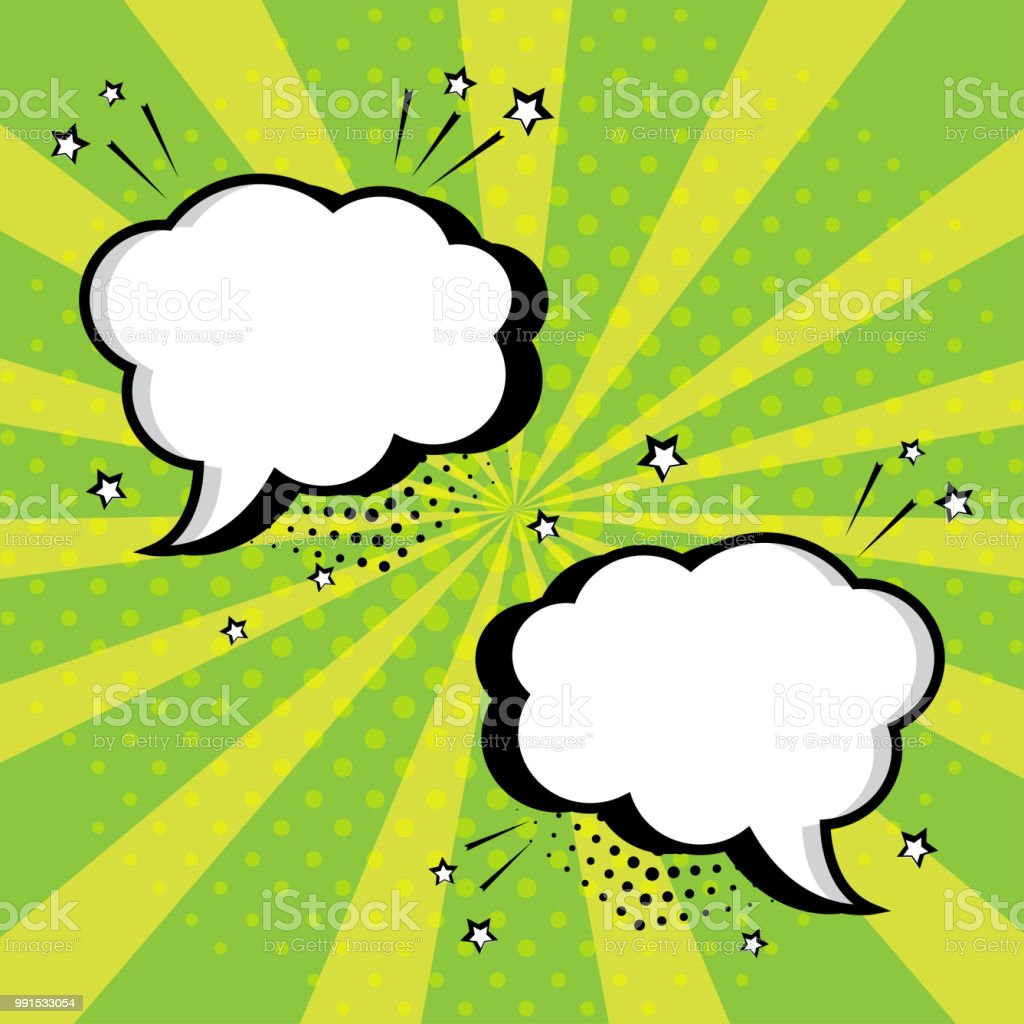 White empty speech comic bubbles with stars and dots on green...