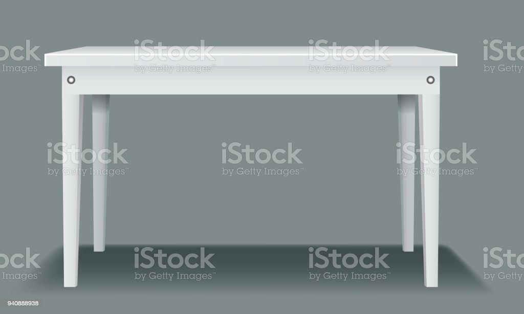 White empty table with four legs and side view. Illustrated vector.