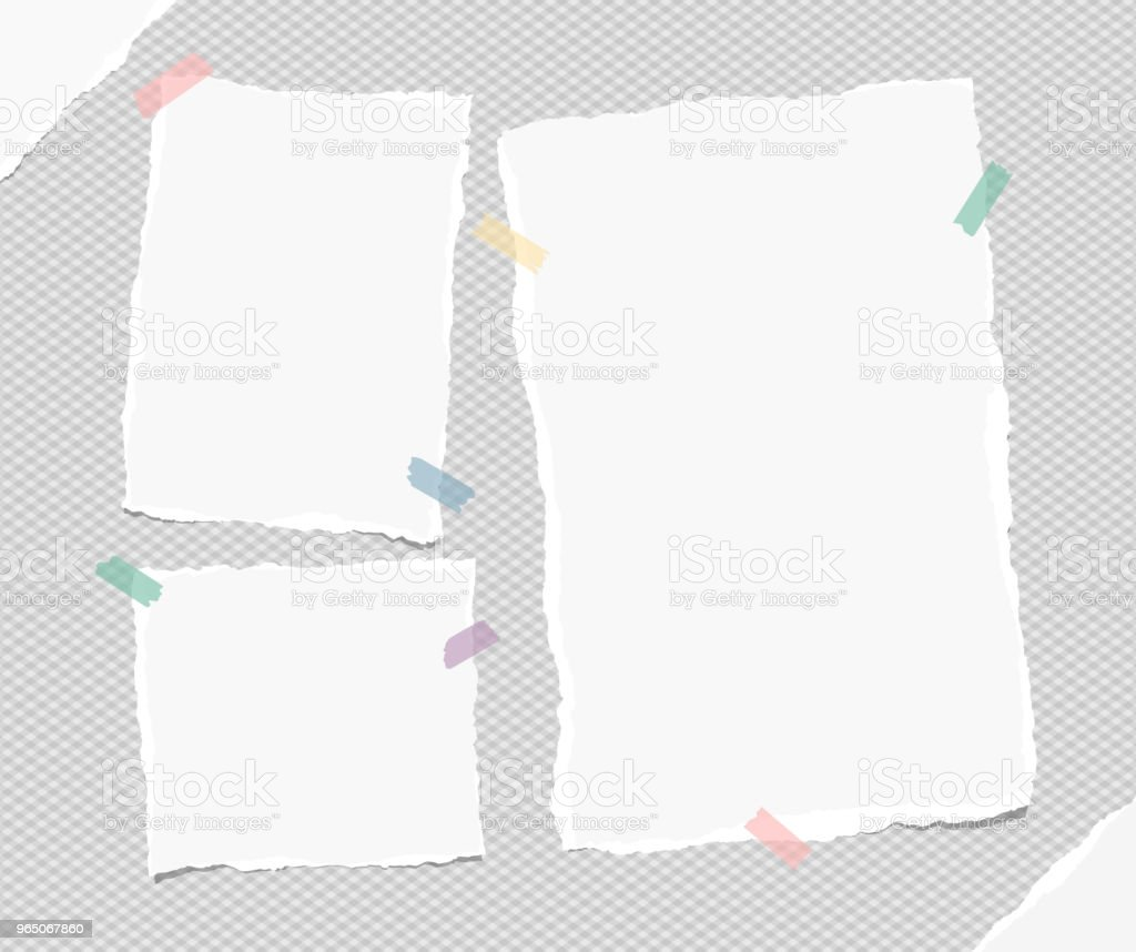 White empty torn note, notebook paper pieces for text stuck with colorful sticky tape on gray squared background. Vector illustration. white empty torn note notebook paper pieces for text stuck with colorful sticky tape on gray squared background vector illustration - stockowe grafiki wektorowe i więcej obrazów baner royalty-free