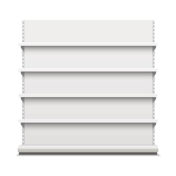 white empty vector store shelves. - wystawa sklepowa stock illustrations