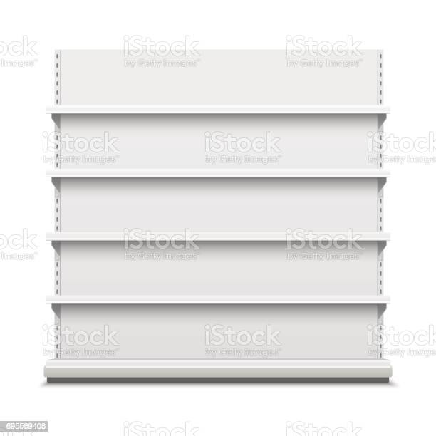 White empty vector store shelves. Showcase display. Retail shelf rack.