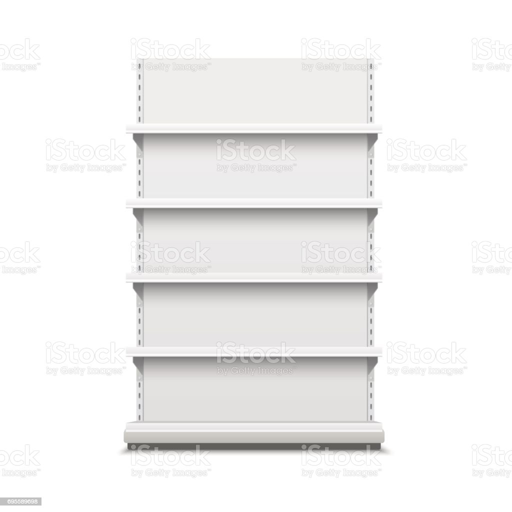 White empty vector store shelves. vector art illustration