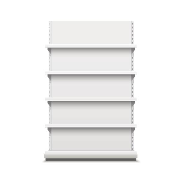 ilustrações de stock, clip art, desenhos animados e ícones de white empty vector store shelves. - prateleira compras