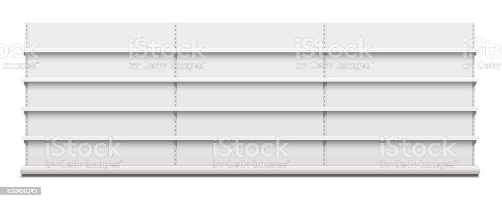 White empty vector store shelves