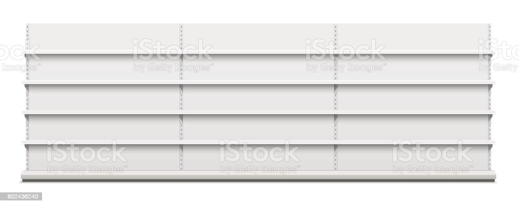 White empty vector store shelves vector art illustration