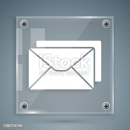 istock White Envelope icon isolated on grey background. Email message letter symbol. Square glass panels. Vector Illustration 1250724743