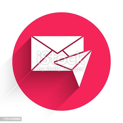 istock White Envelope icon isolated with long shadow. Email message letter symbol. Red circle button. Vector Illustration 1254406965