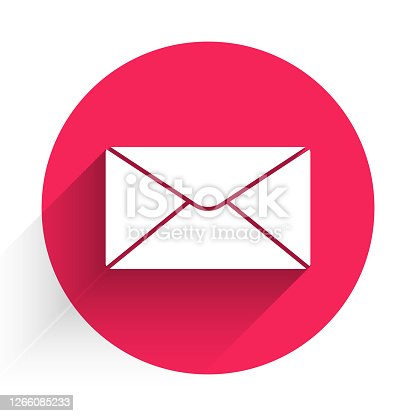 istock White Envelope icon isolated with long shadow. Email message letter symbol. Red circle button. Vector Illustration 1266085233