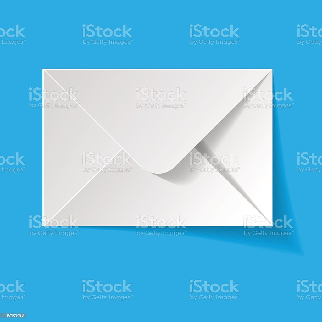 White envelope on a blue background. vector art illustration