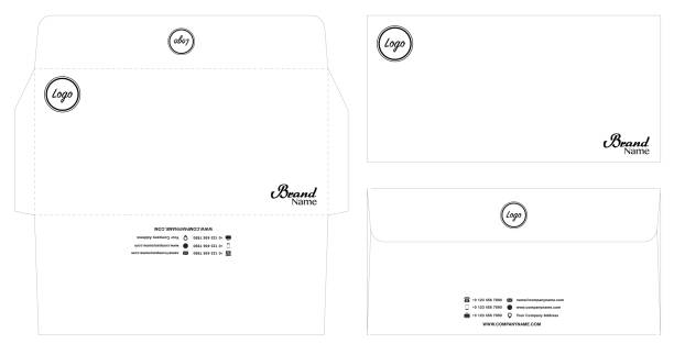 white envelope template mockup with dieline eps10 vector art illustration