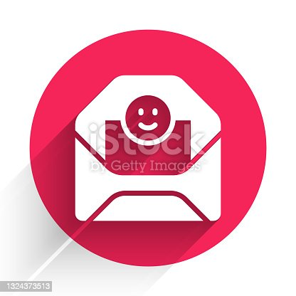 istock White Envelope with Valentine heart icon isolated with long shadow. Message love. Letter love and romance. Red circle button. Vector 1324373513