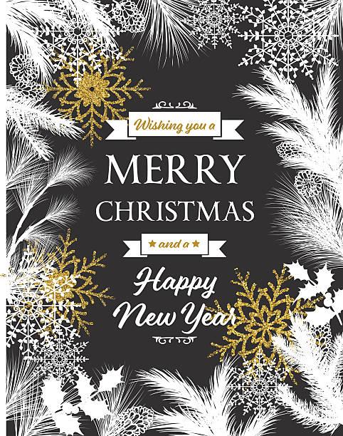 white evergreen silhouettes on black christmas card - palettenbilderrahmen stock-grafiken, -clipart, -cartoons und -symbole