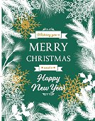 White Evergreen Silhouettes On Green Christmas Card. Snowflakes and various evergreen plants with golden metallic sparkle shapes. Copy space in the center. Great for holiday menu, greeting card, invitation template.