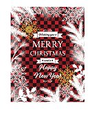 White Evergreen Silhouettes Red Plaid Christmas Card. Snowflakes and various evergreen plants with golden metallic sparkle shapes. Copy space in the center. Great for holiday menu, greeting card, invitation template.