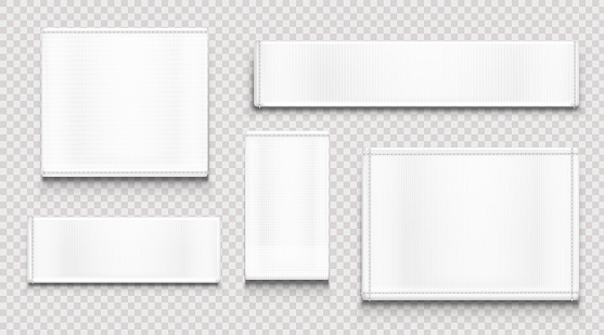White fabric tags, cloth labels different shapes