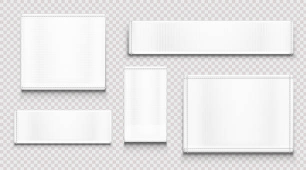 White fabric tags, cloth labels different shapes White fabric tags different shapes isolated on transparent background. Vector realistic mockup of blank cloth labels with stitches, cotton badge for textile, woven fashion sticker textile stock illustrations