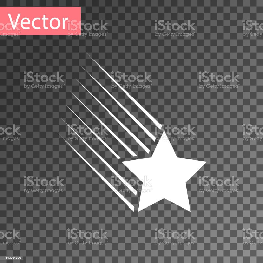 White Falling star icon isolated on transparent background. Shooting...