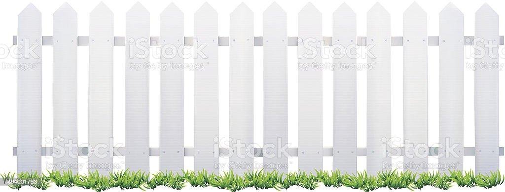 White Fence and Grass - Illustration vector art illustration