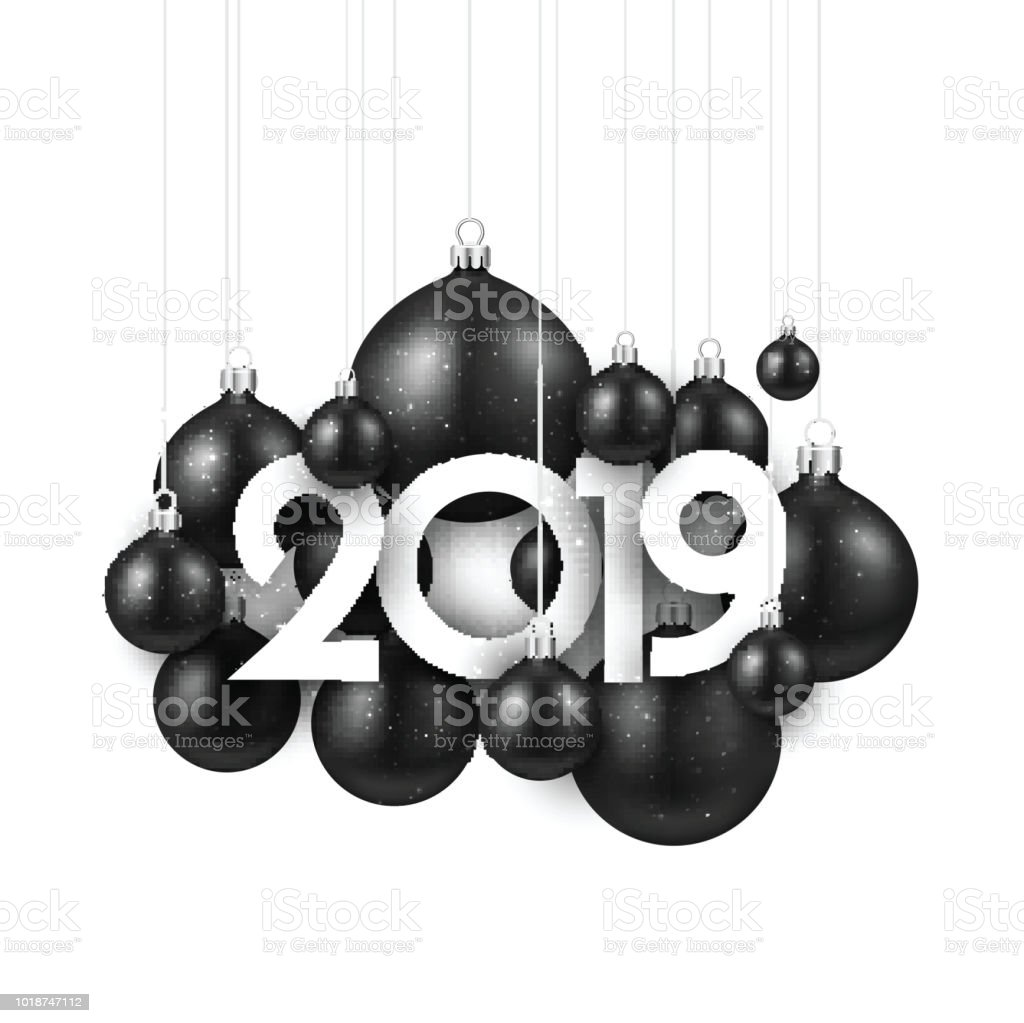 white festive 2019 new year card with black christmas balls royalty free white festive