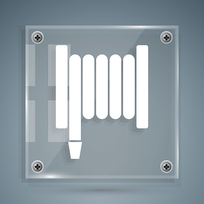 White Fire hose reel icon isolated on grey background. Square glass panels. Vector Illustration