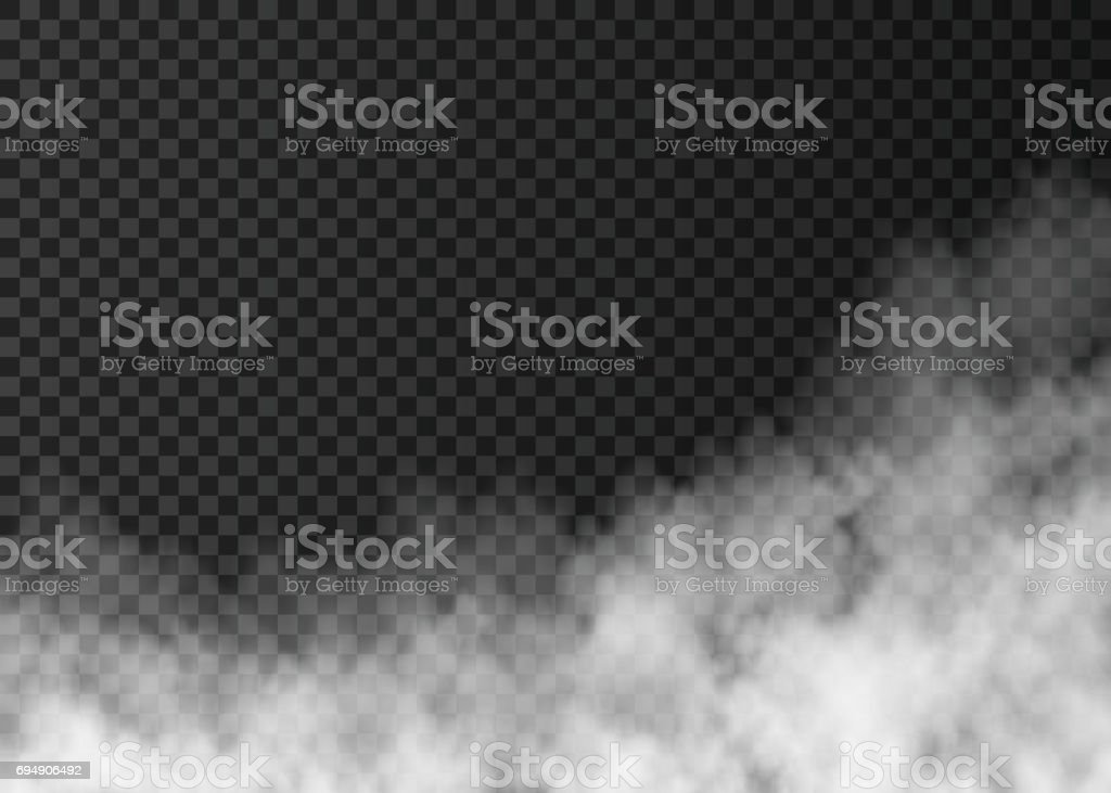 White  fire smoke  isolated on transparent background. vector art illustration