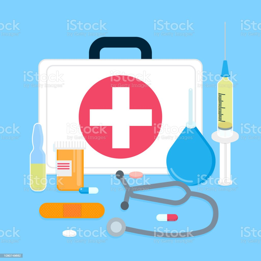White First Aid Kit Inside Vector Illustration Emergency Medical