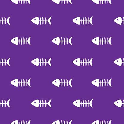 White Fish Skeletons Seamless Pattern