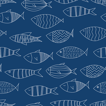 White fishes on navy blue background - Seamless Pattern