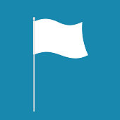 White flag isolated. symbol of defeat. Vector illustration