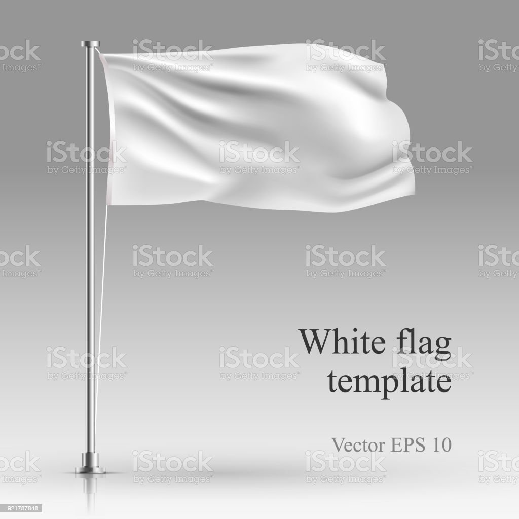 White flag stand on steel pole  template isolated on gray. vector art illustration